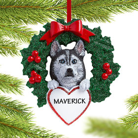 Personalized Siberian Husky Dog with Wreath