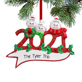 Personalized 2021 Snowman Family of 3 Christmas