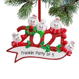 Personalized 2021 Snowman Family of 5 Christmas