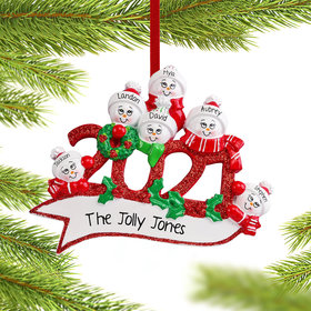 Personalized 2021 Snowman Family of 6 Christmas