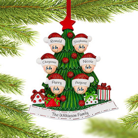 Personalized Tree Family of 6 Christmas