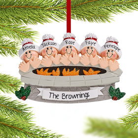 Personalized Firepit Family of 5 Christmas