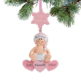 Personalized Baby On Hearts Pink Christmas