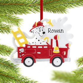 Personalized Fire Truck With Dog