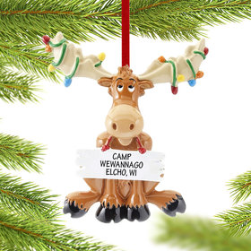 Personalized Christmas Moose with Lights