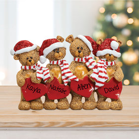 Personalized Bears With Hearts Family 4 Table Decoration