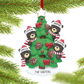 Personalized Black Bear Tree Family 4