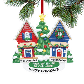 Personalized From Our House To Your House Red House and Blue House