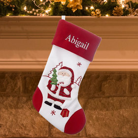 Personalized Red and White Stocking (Santa)