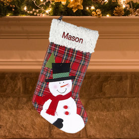Personalized Plaid Snowman Stocking