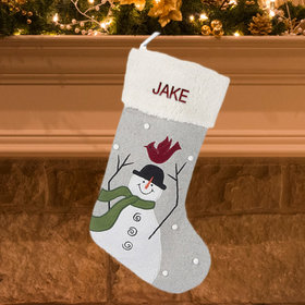 Personalized Snowman with Cardinal on Head Stocking