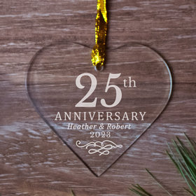 Personalized 25th Anniversary Heart (Etched)