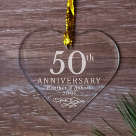 Personalized 50th Anniversary Heart (Etched)