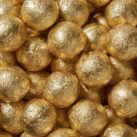 Gold Solid Milk Chocolate Foiled Balls