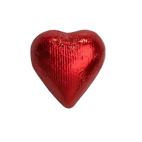 Red Solid Milk Chocolate Foiled Hearts