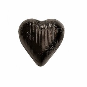 Black Solid Milk Chocolate Foiled Hearts