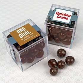 Personalized Business Teamwork JUST CANDY® favor cube with Premium Barrel Aged Bourbon Cordials - Dark Chocolate
