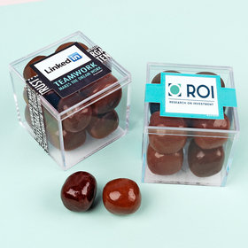 Personalized Business Teamwork JUST CANDY® favor cube with Premium Milk & Dark Chocolate Sea Salt Caramels