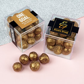 Personalized Business Teamwork JUST CANDY® favor cube with Premium Sparkling Prosecco Cordials - Dark Chocolate