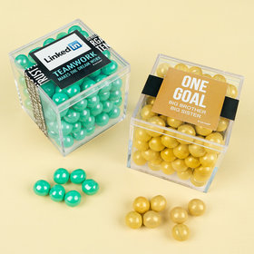Personalized Business Teamwork JUST CANDY® favor cube with Sixlets Chocolate