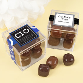 Personalized Business Thank You JUST CANDY® favor cube with Premium Milk & Dark Chocolate Sea Salt Caramels
