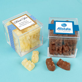 Personalized Business Thank You JUST CANDY® favor cube with Premium Chocolate Covered Gummy Bears