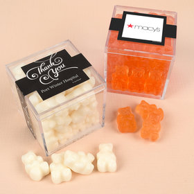 Personalized Business Thank You JUST CANDY® favor cube with Gummy Bears