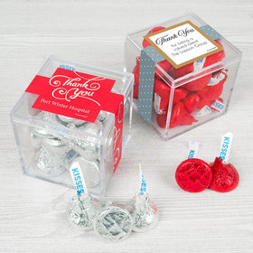 Personalized Business Thank You JUST CANDY® favor cube with Hershey's Kisses