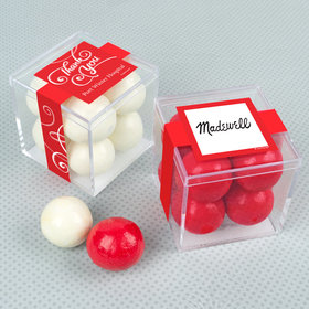 Personalized Business Thank You JUST CANDY® favor cube with Premium Malted Milk Balls