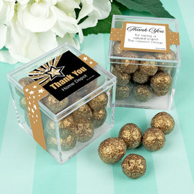 Personalized Business Thank You JUST CANDY® favor cube with Premium Sparkling Prosecco Cordials - Dark Chocolate