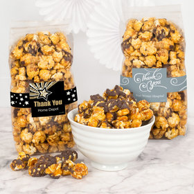 Personalized Business Thank You Chocolate Caramel Sea Salt Gourmet Popcorn 8 oz Bags