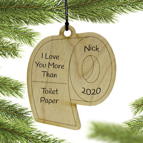 Personalized Wood Toilet Paper Ornament
