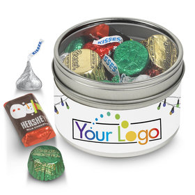 Personalized Add Your Logo Holiday Tin 8oz