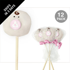 Baby Face with Pink Accent Double Chocolate Cake Pops (12 Pack)