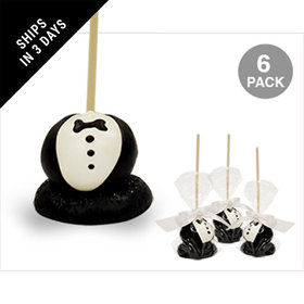 Groom Double Chocolate Cake Pops with Sugar Cookie Base (6 Pack)
