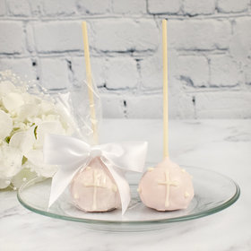 Pink Cake Pop Favor with Cross (12 Pack)