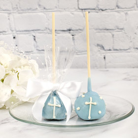 Blue Cake Pop Favor with Cross (12 Pack)