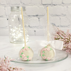 White w/ Pink Flowers Double Chocolate Cake Pops with Sugar Cookie Base (12 Pack)