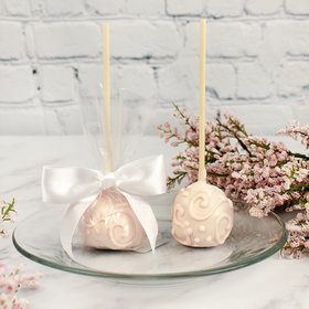 Pink Scrolls Double Chocolate Cake Pops with Sugar Cookie Base (12 Pack)