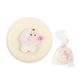 Pink Baby Stroller & White Chocolate Covered OREO Cookies (12 Pack)