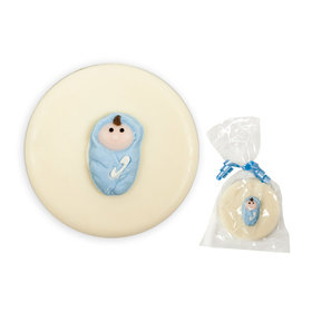 Blue Baby Swaddled & White Chocolate Covered OREO Cookies (12 Pack)
