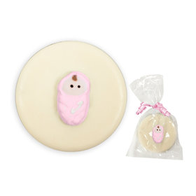 Pink Baby Swaddled & White Chocolate Covered OREO Cookies (12 Pack)