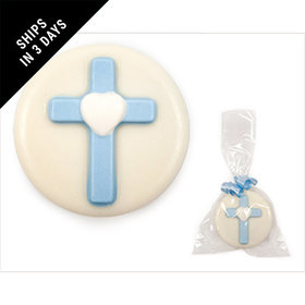 White Chocolate Covered OREO Cookie with Blue Cross (12 Pack)