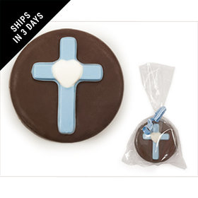 Chocolate & Blue Chocolate Covered OREO Cookie with Cross (12 Pack)