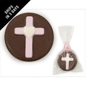 Chocolate & Pink Chocolate Covered OREO Cookie with Cross (12 Pack)