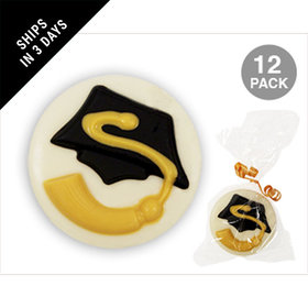 White Chocolate Covered OREO Cookies with Graduation Cap & Tassle (12 Pack)