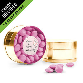 Personalized Anniversary Favor Assembled Small Round Plastic Tin Filled with Just Candy Milk Chocolate Minis