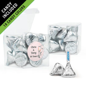 Personalized Anniversary Favor Assembled Clear Box Filled with Hershey's Kisses