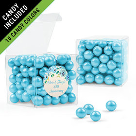 Personalized Anniversary Favor Assembled Clear Box Filled with Sixlets