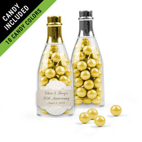 Personalized Anniversary Favor Assembled Champagne Bottle Filled with Sixlets